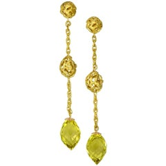Lemon Citrine Yellow Gold Textured Drop Earrings One of a Kind