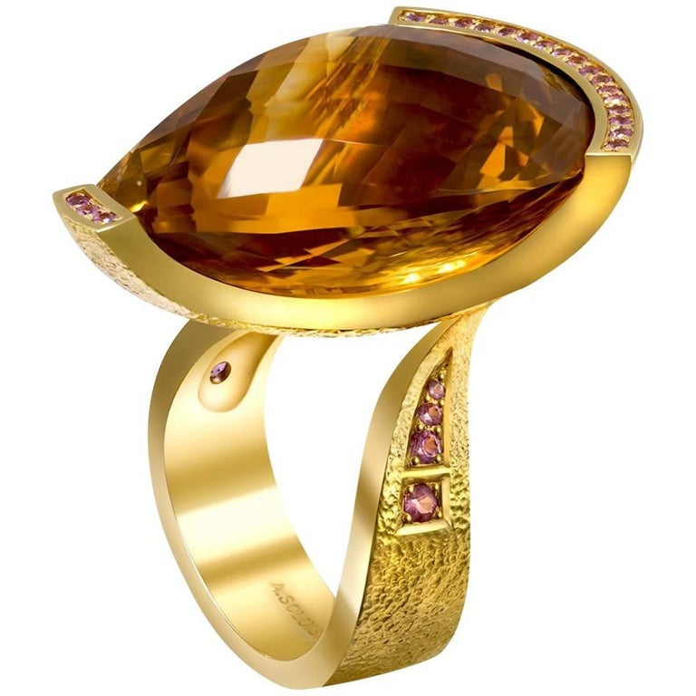 Citrine Sapphire Gold Textured Swan Ring One of a Kind