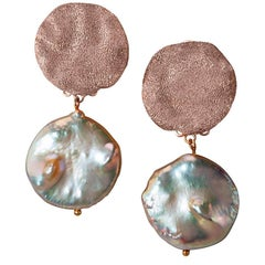 Pearl Silver Rose Gold Textured Drop Dangle Clip-On Earrings One of a Kind