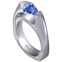 Tanzanite White Gold Engagement or Right Hand Ring One of a Kind