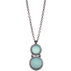 Chalcedony Topaz Oxidized Silver Pendant Necklace One of a Kind