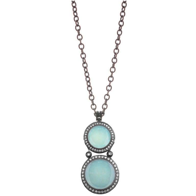 Chalcedony Topaz Oxidized Silver Pendant Necklace One of a Kind