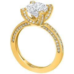 GIA Certified 1.01 Carat F Color SI2 Clarity Diamond Gold Engagement Ring