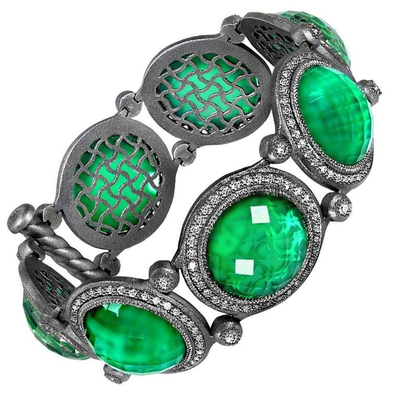Green Agate White Quartz Doublet Topaz Oxidized Silver Bracelet One of a Kind