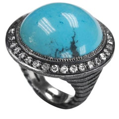 Turquoise Cabochon Diamond Oxidized Sterling Silver Textured Ring One of a Kind