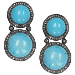 Alex Soldier Cabochon Turquoise Diamond Oxidized Sterling Silver Drop Earrings