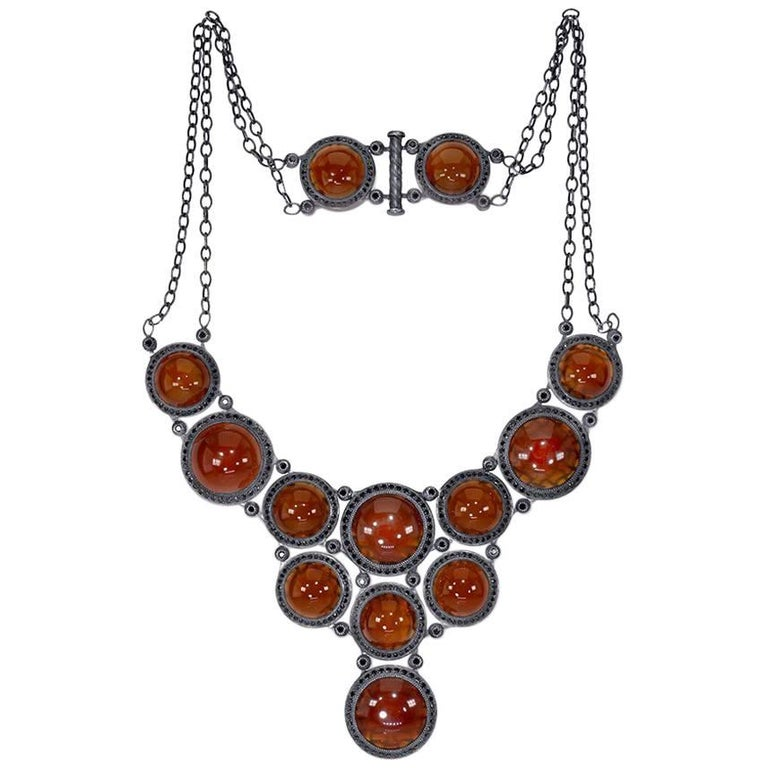 Carnelian Spinel Oxidized Sterling Silver Necklace One of a Kind