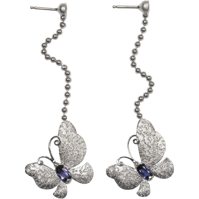 Alex Soldier Iolite Sterling Silver Platinum Butterfly Earrings One of a Kind