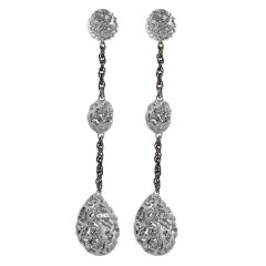 Sterling Silver Platinum Textured Drop Dangle Earrings