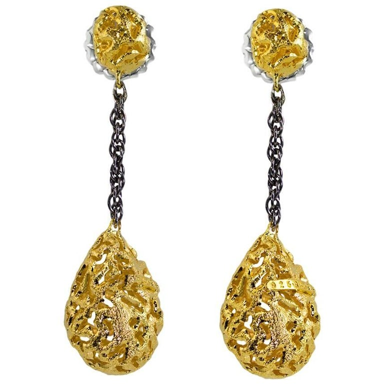 Sterling Silver Gold Platinum Textured Drop Dangle Earrings