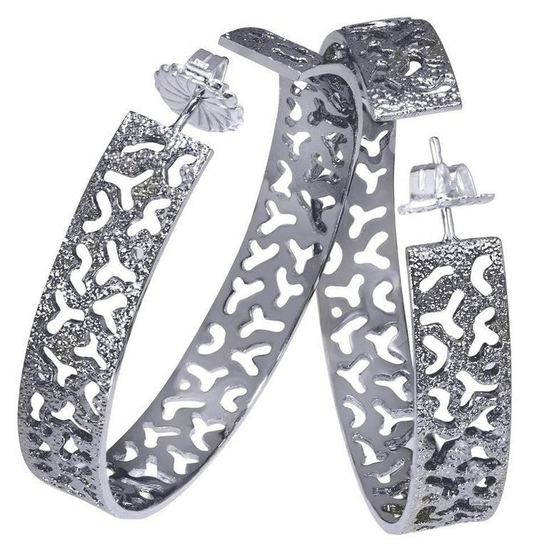 Sterling Silver Platinum Textured Hoop Earrings One of a Kind