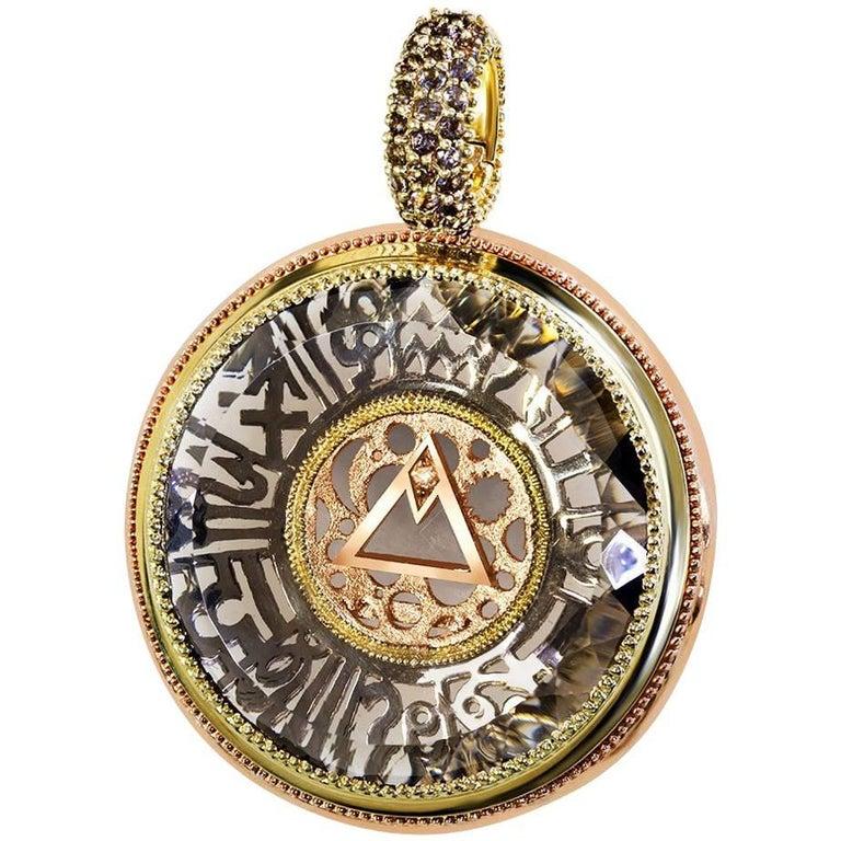 Alex Soldier Smoky Topaz Diamond Gold Talisman Zodiac Pendant Necklace Enhancer