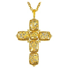 Alex Soldier Gold Cross Diamond Quartz Doublet Necklace Pendant One of a Kind