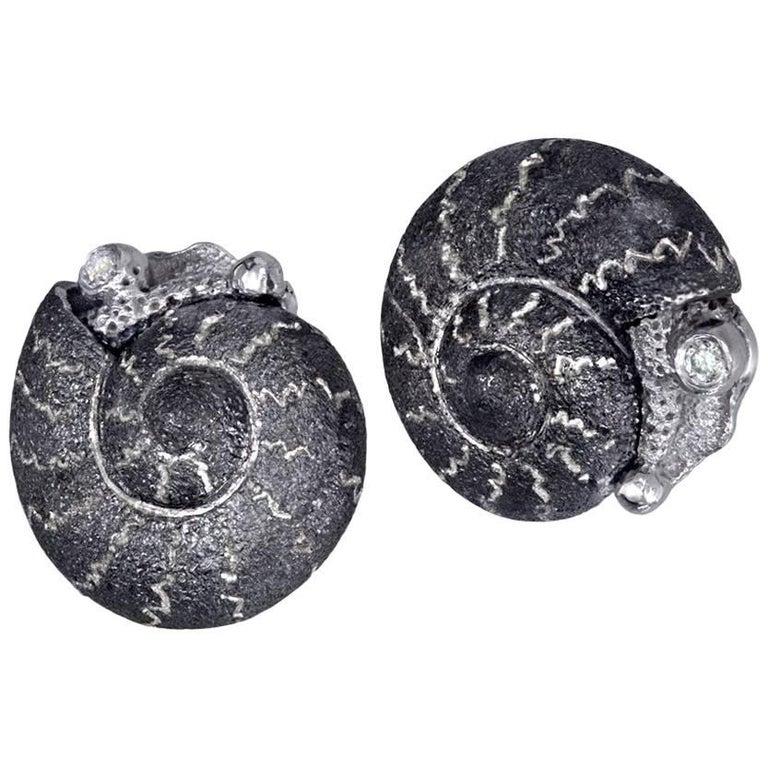 Alex Soldier Diamond Sterling Silver Textured Baby Snail Stud Earrings
