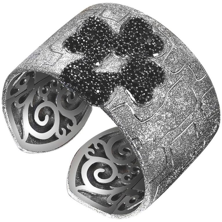 Alex Soldier Spinel Sterling Silver Rhodium Hinged Cuff Bracelet One of a Kind