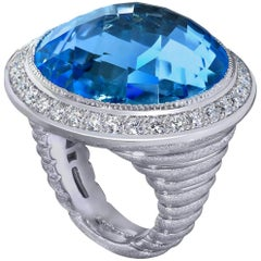 40.5 Carat Blue Topaz Diamond Textured Gold Cocktail Ring One of a Kind