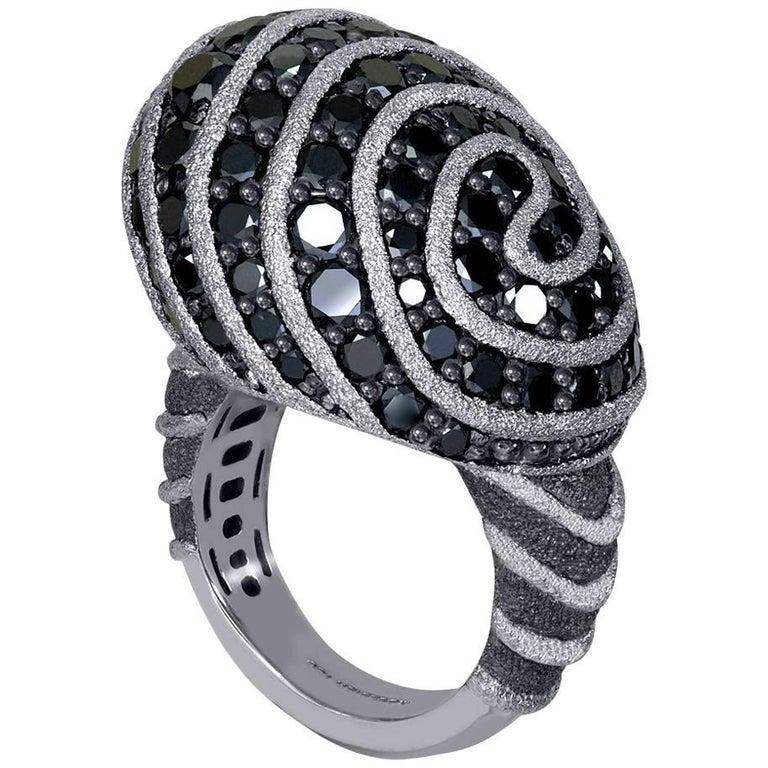 Diamond Textured Blackened Gold Swirl Art Ring One of a Kind
