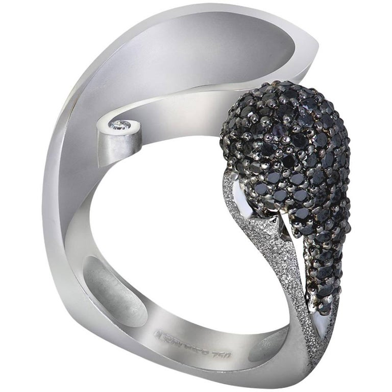 Diamond White Gold Textured Crossover Ring One of a Kind