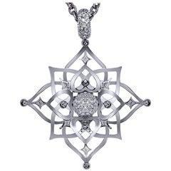Diamond Topaz Magic Star White Gold Pendant Choker Necklace One of a Kind