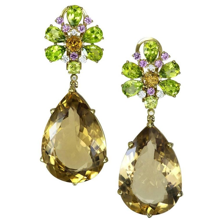 Champagne Quartz Peridot Pink Sapphire Diamond Gold Drop Earrings One of a Kind For Sale