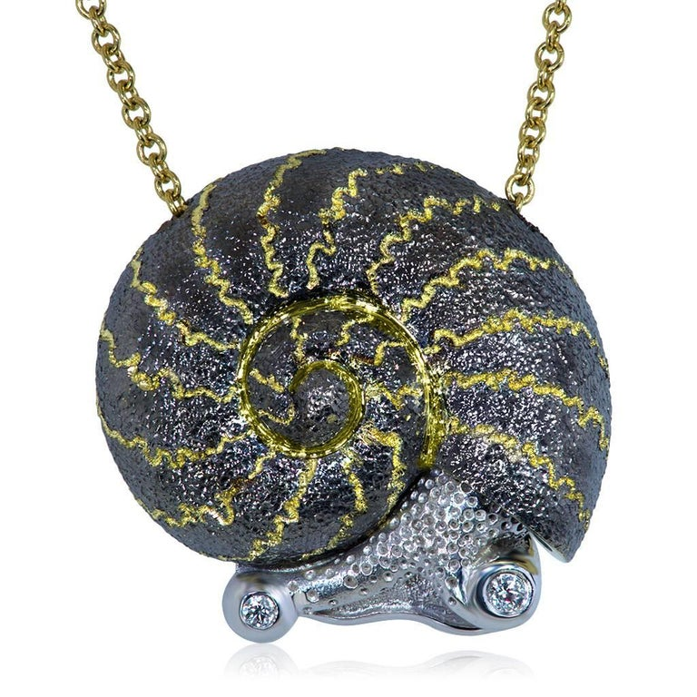 Alex Soldier Diamond Gold Snail Pendant Necklace on Gold Chain One of a Kind