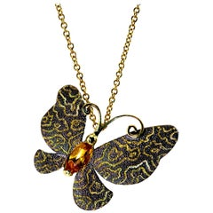 Citrine Gold Butterfly Textured Pendant Necklace Pin on Chain One of a Kind