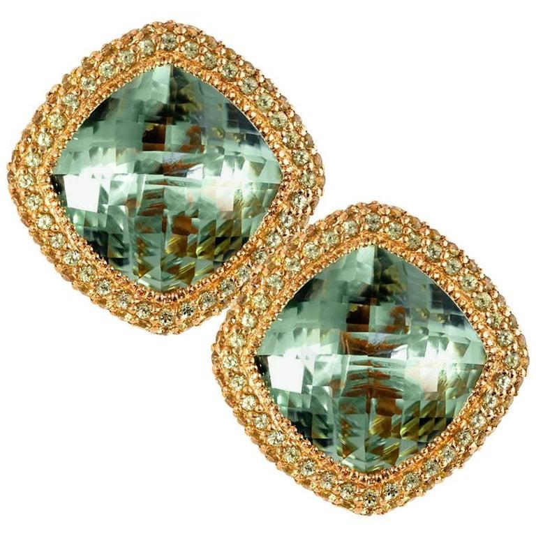 Green Amethyst Peridot Rose Gold One of a Kind Earrings Cufflinks