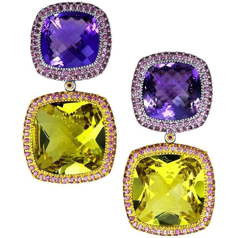 Lemon Citrine Amethyst Garnet Gold Royal Drop Earrings One of a Kind