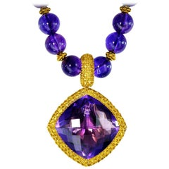 Amethyst Yellow Sapphire Gold Pendant Necklace Enhancer One of a Kind