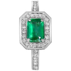 Emerald Diamond White Gold Engagement Cocktail Ring One of a Kind