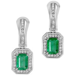 Emerald Diamond Drop Dangle White Gold Earrings One of a Kind