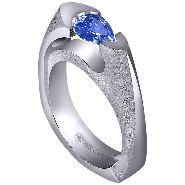 Tanzanite White Gold Engagement Wedding Cocktail Ring One of a Kind