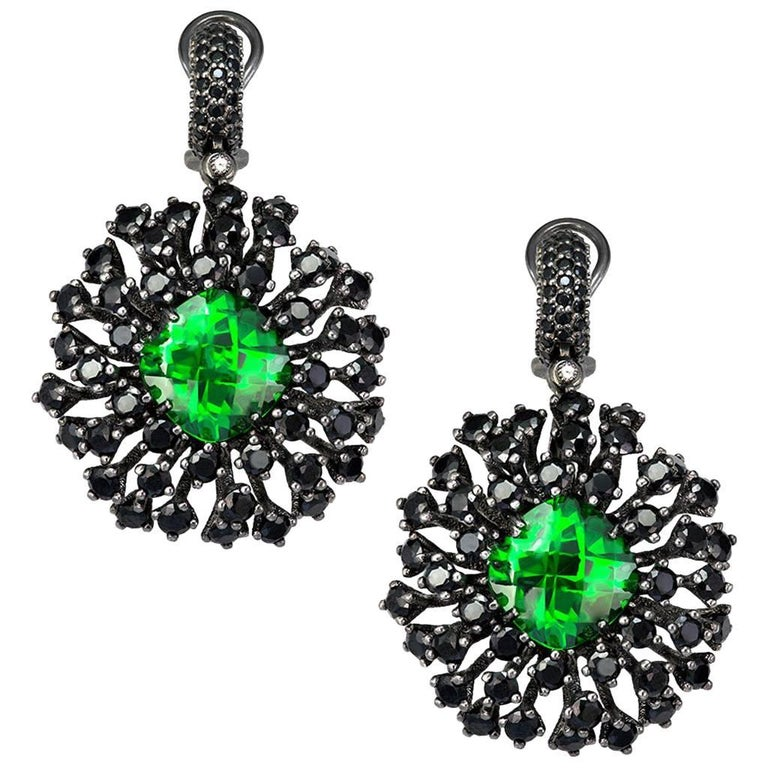 Swarovski Crystal Spinel Blackened Sterling Silver Drop Earrings One of a Kind