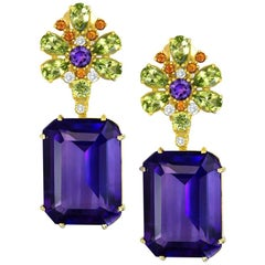 Alex Soldier Amethyst Peridot Garnet Diamond Gold Drop Earrings One of a Kind