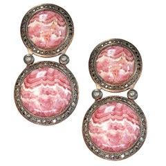 Alex Soldier Rhodochrosite Diamond Sterling Silver Earrings One of a Kind