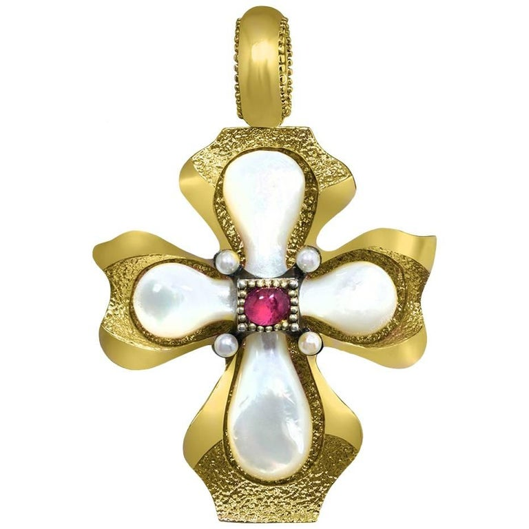 Ruby Pearl Sterling Silver Gold Cross Pendant Necklace Enhancer One of a Kind For Sale