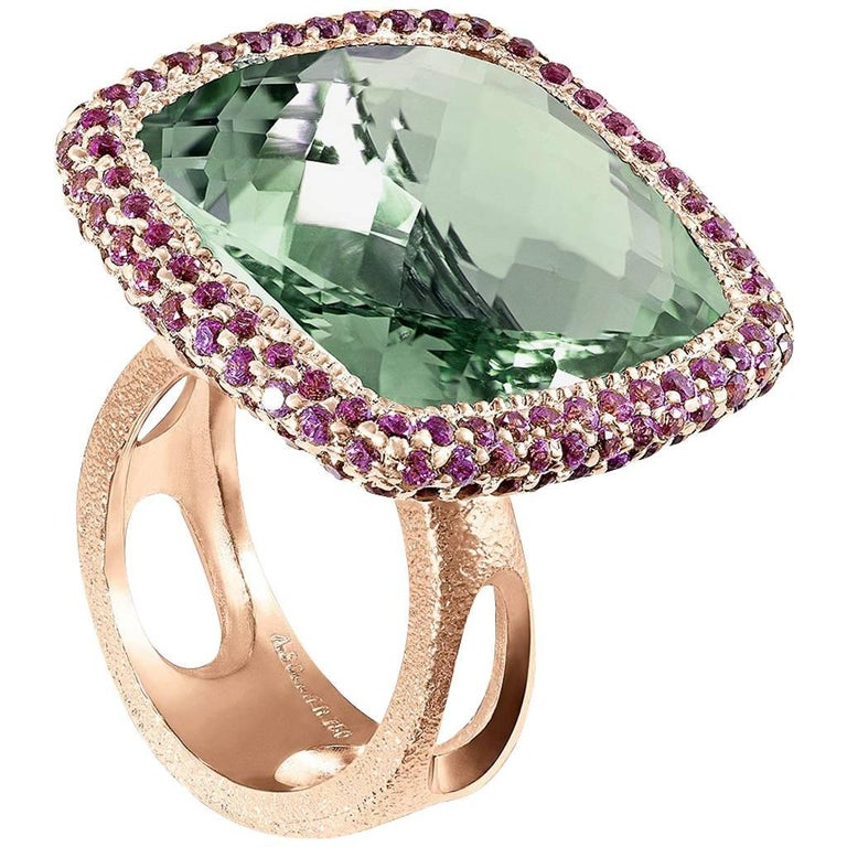 Green Amethyst Garnet Rose Gold Textured Cocktail Ring One of a Kind