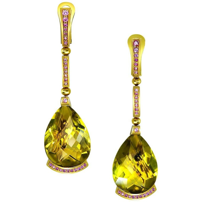 Lemon Citrine Pink Sapphire Yellow Gold Swan Drop Earrings One of a Kind