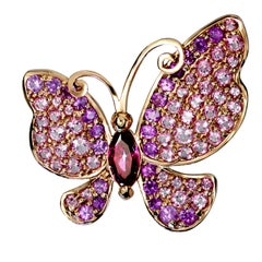 Sapphire Topaz Gold Butterfly Pin Pendant Necklace Brooch One of a Kind