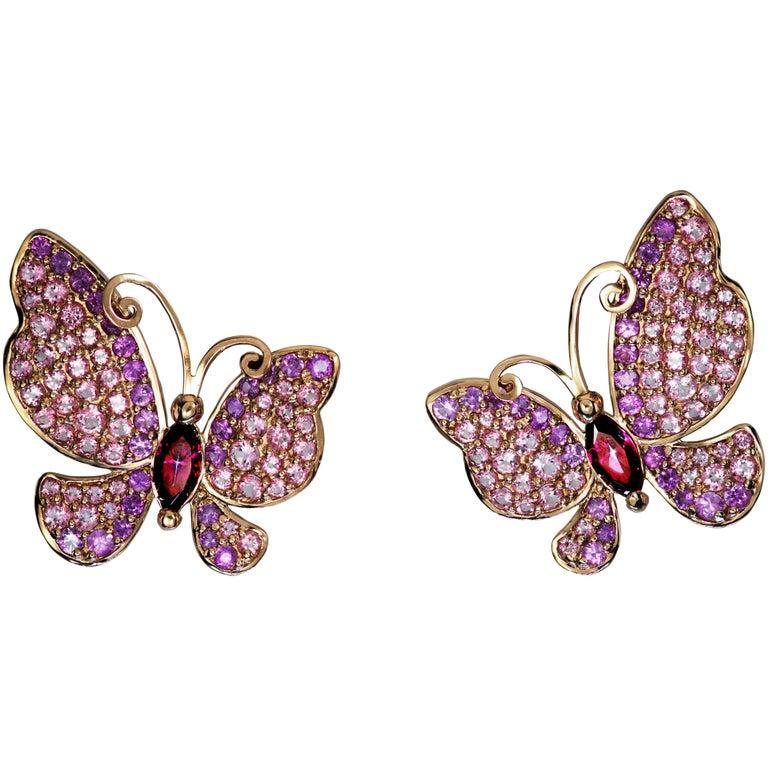 Sapphire Topaz Gold Butterfly Stud Earrings One of a Kind