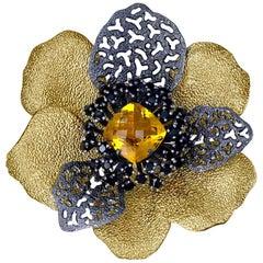 Citrine Spinel Sterling Silver Gold Platinum Brooch Pendant Necklace Headpiece