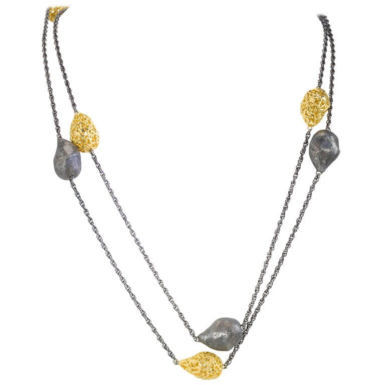 Sterling Silver Gold Platinum Textured Station Necklace Choker