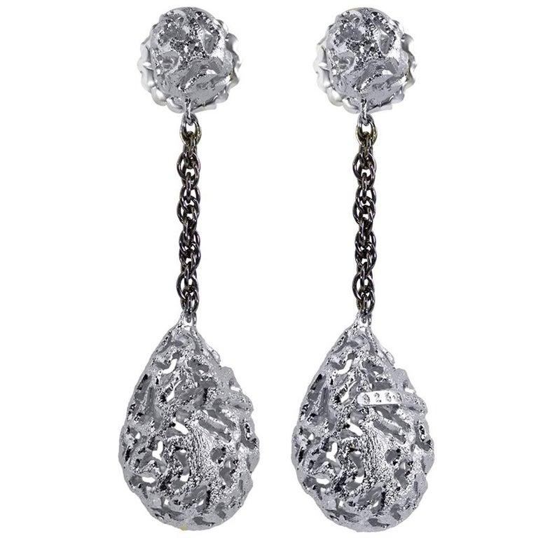 Sterling Silver Platinum Textured Drop Dangle Earrings