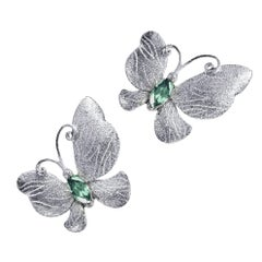 Tourmaline Sterling Silver Platinum Textured Butterfly Earrings One of a Kind