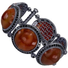 Alex Soldier Carnelian Spinel Sterling Silver Oxidized Bracelet One of a Kind