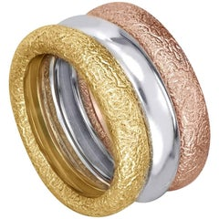 Alex Soldier Three-Band Stackable Multi Gold Textured Rings One of a Kind