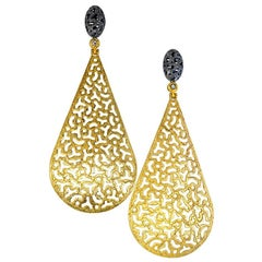 Alex Soldier Sterling Silver Gold Platinum Topaz Textured Festive Drop Earrings