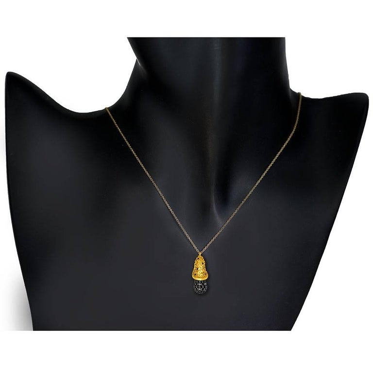 Round Cut Alex Soldier Diamond Gold Acorn Pendant Necklace on Chain One of a Kind For Sale
