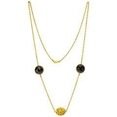 Alex Soldier Onyx Gold Textured Necklace Link Choker One of a Kind