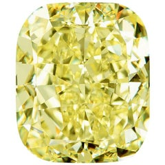 GIA Certified 4.02 Natural Fancy Yellow Cushion Cut Diamond VVS2